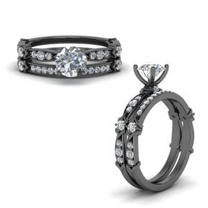 Antique Pave Black Gold Wedding Set