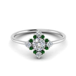 Emerald Art Deco Cluster Ring