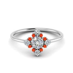Art Deco Orange Topaz Ring