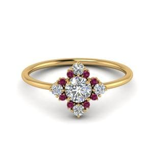 Pink Sapphire Art Deco Ring