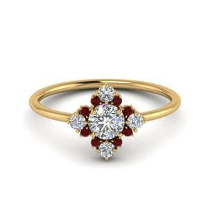 Flower Pattern Ruby Ring