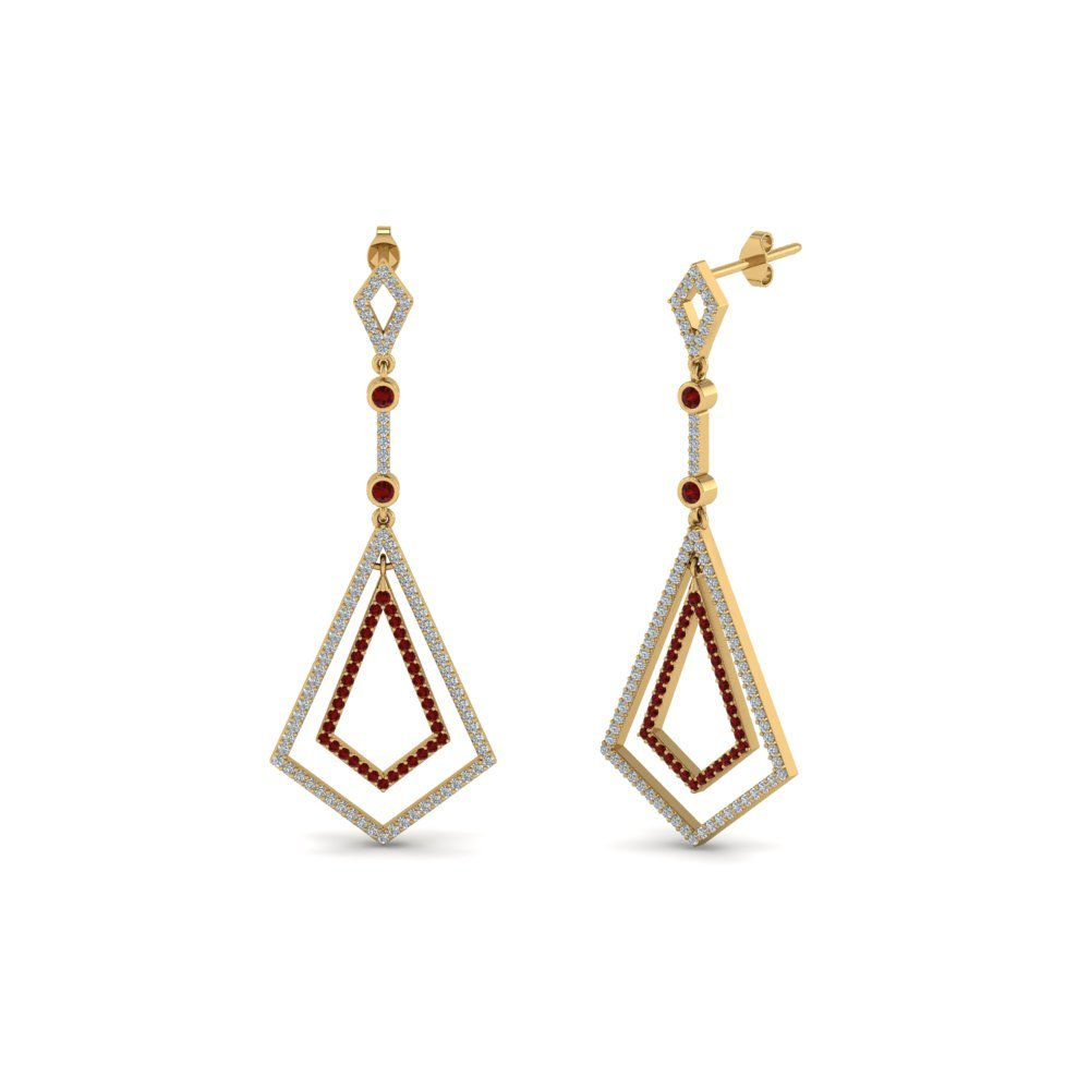 Art Deco Diamond Dangle Earring With Ruby In 14K Yellow Gold
