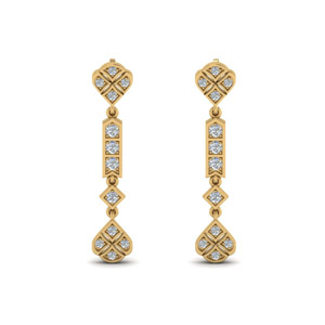 Art Deco Diamond Earring In 14K Yellow Gold