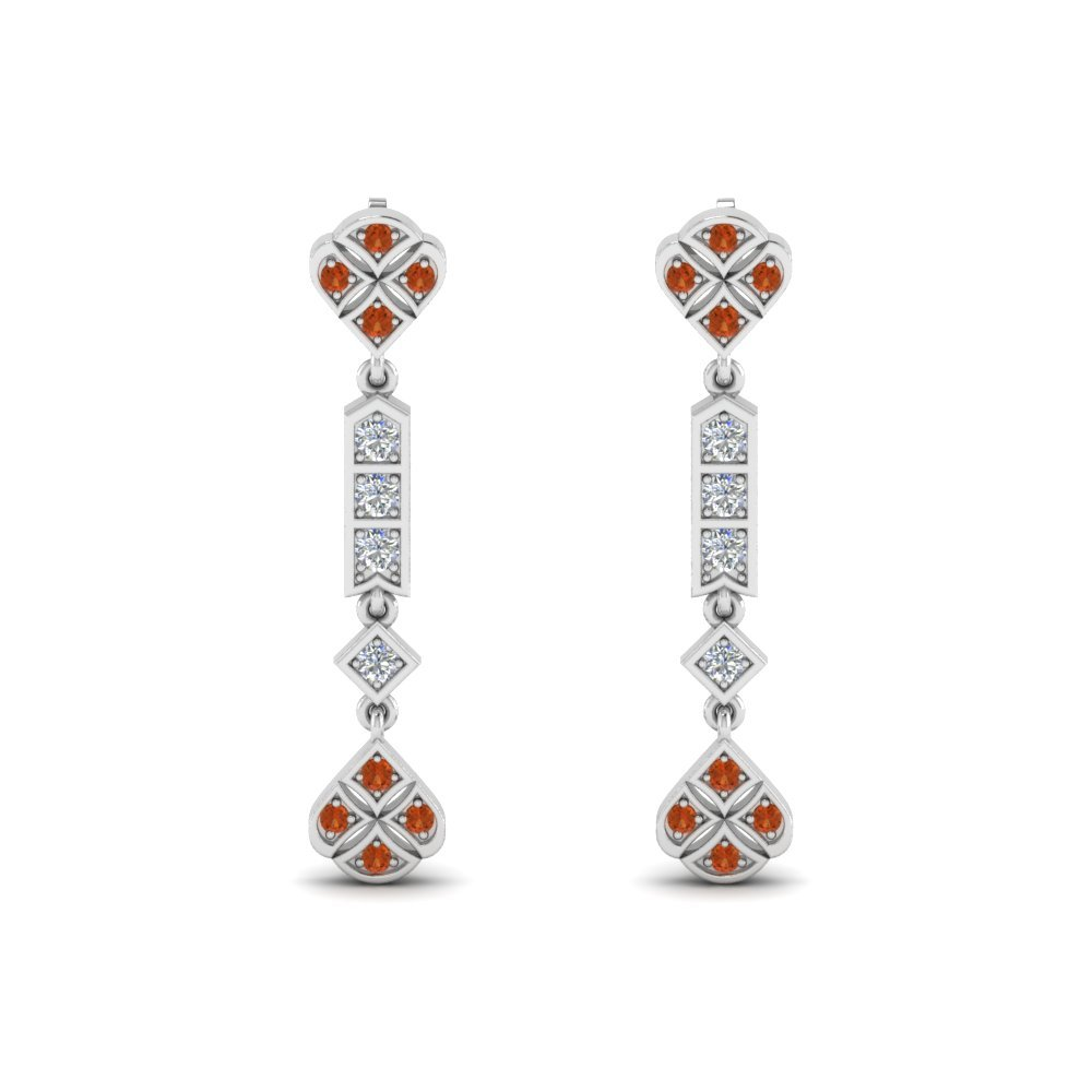 Art Deco Diamond Earring With Orange Sapphire In 14K White Gold