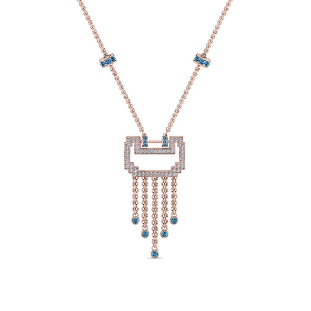 Art Deco  Blue Topaz Necklace