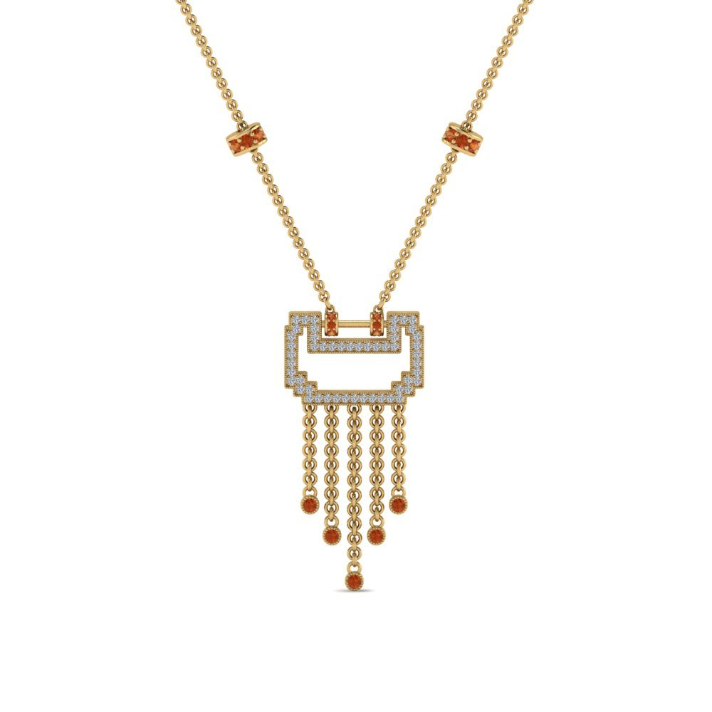 Yellow Gold Orange Sapphire Necklace
