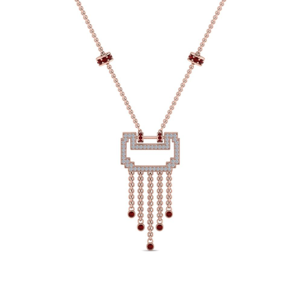 Art Deco Drop Ruby Diamond Necklace