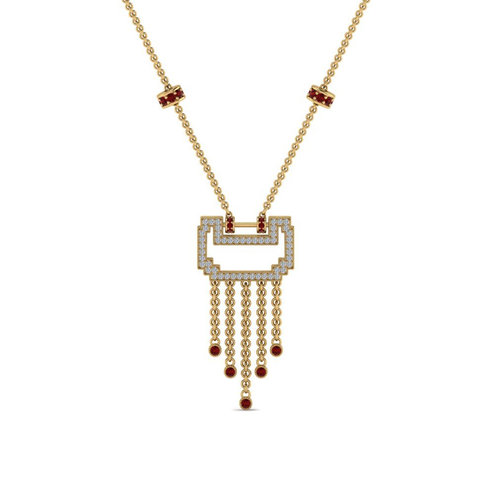 Art Deco Drop Diamond Necklace With Ruby In 14K Yellow Gold