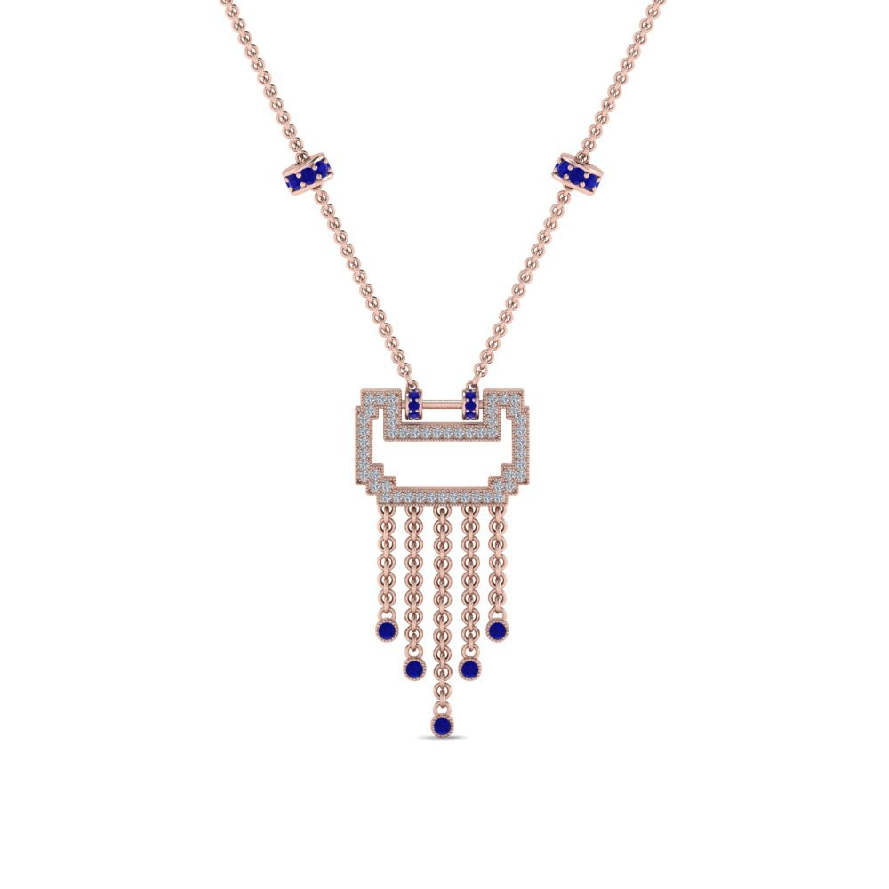 Rose Gold Sapphire  Diamond Necklace