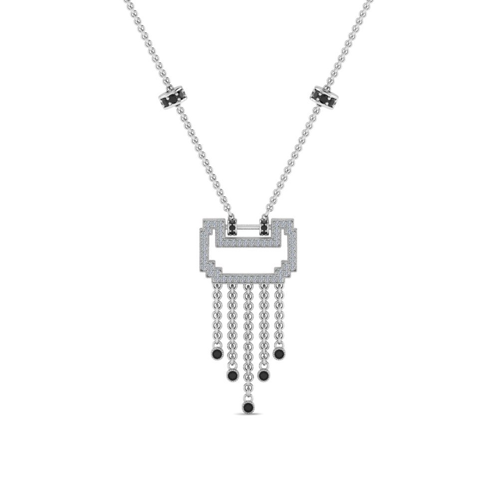 Platinum Black Diamond Drop Necklace