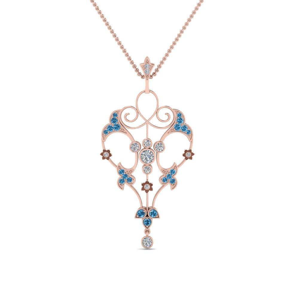 Filigree Blue Topaz Necklace