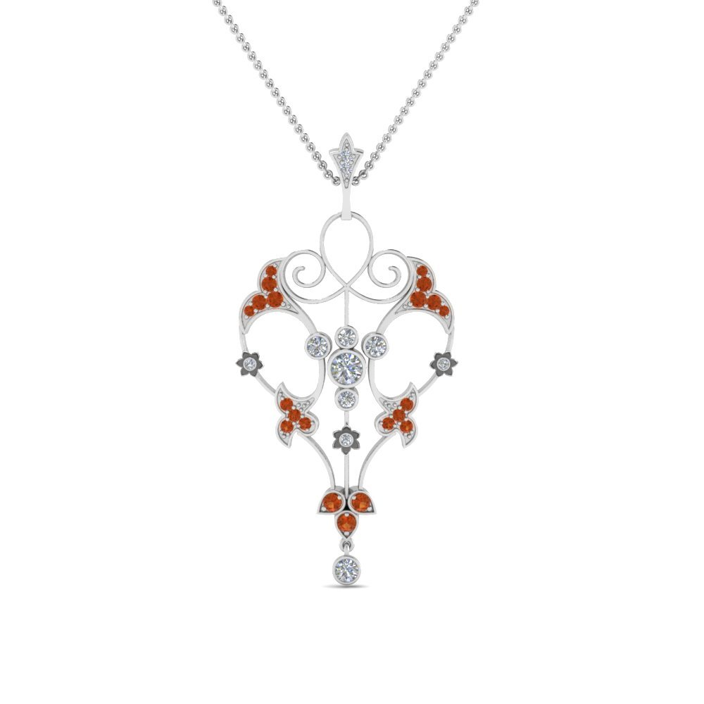 Art Deco Filigree Diamond Necklace With Orange Sapphire In 14K White Gold