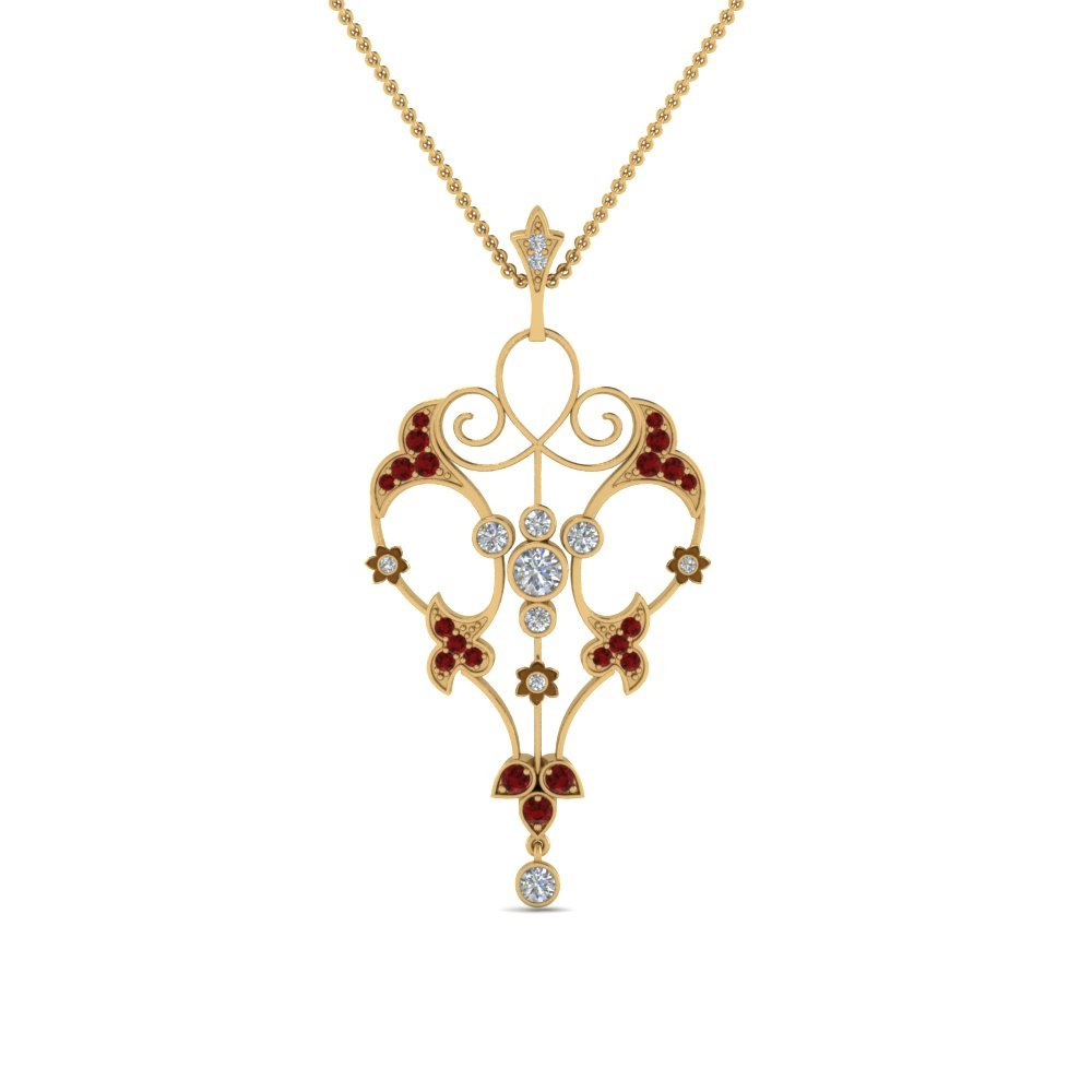 Filigree Necklace With Ruby