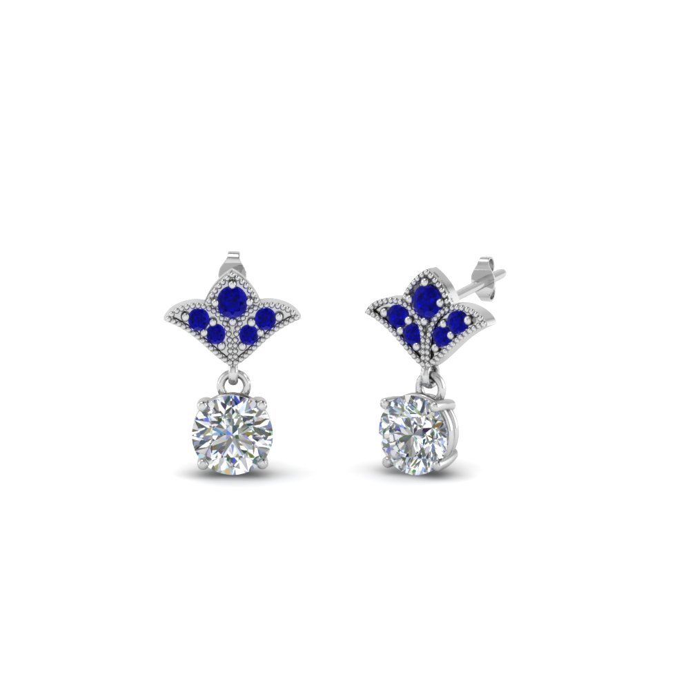 Art Deco Inspired Round Drop Earring With Blue Sapphire In 14K White Gold