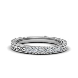 Art Deco Pave Diamond Wedding Band In 14K White Gold