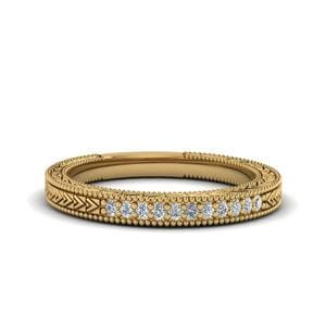 Art Deco Pave Wedding Band In 14K Yellow Gold