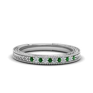 Milgrain Pave Set Emerald Ring