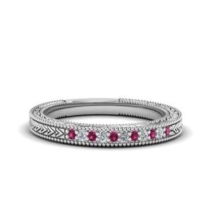 Art Deco Pink Sapphire Wedding Band