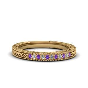 Filigree Purple Topaz Wedding Band