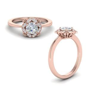 Art Deco Petite Diamond Engagement Ring In 14K Rose Gold