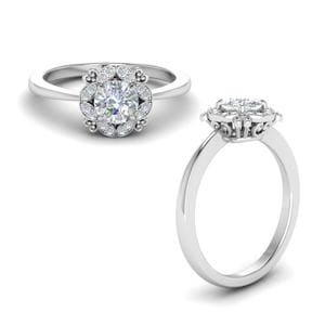 Art Deco Petite Diamond Engagement Ring In 14K White Gold