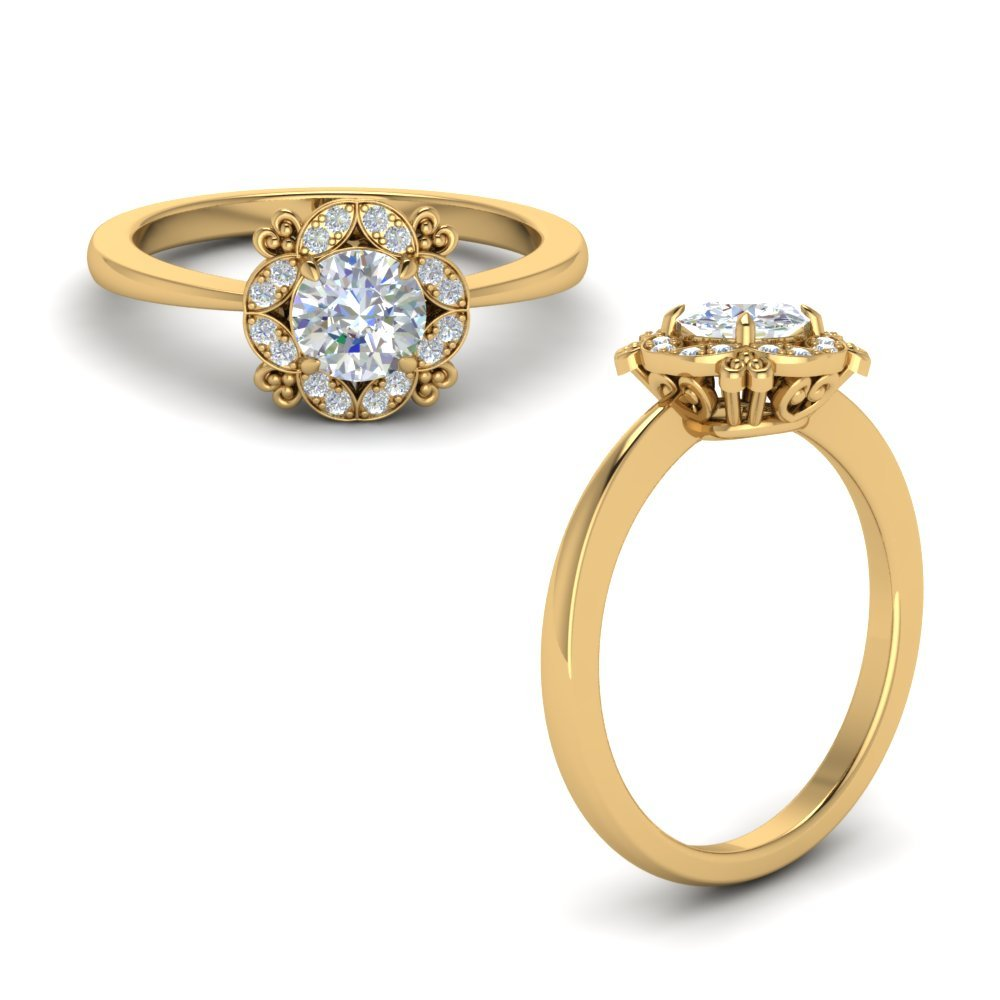 Art Deco Petite Diamond Engagement Ring In 18K Yellow Gold