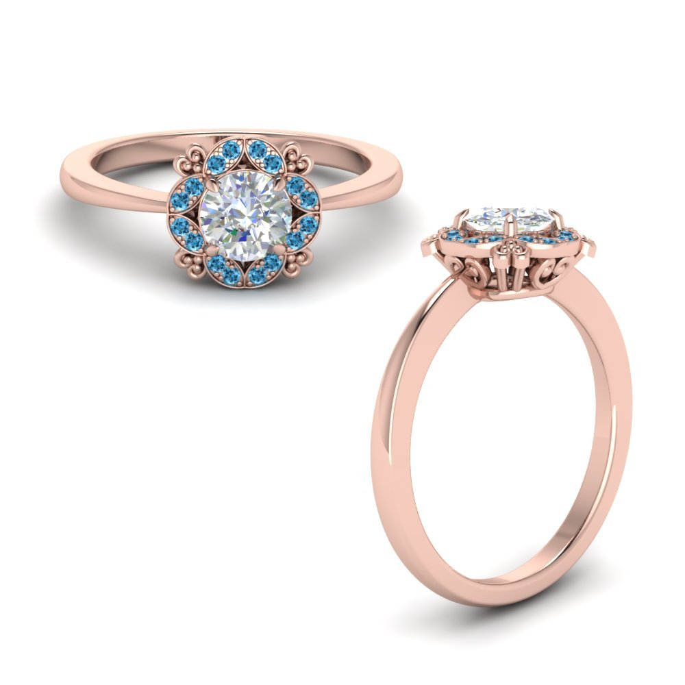 Art Deco Petite Engagement Ring With Blue Topaz In 14K Rose Gold