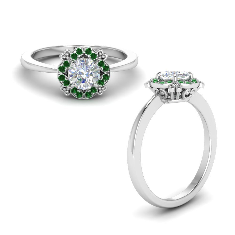 Art Deco Petite Engagement Ring With Emerald In 18K White Gold