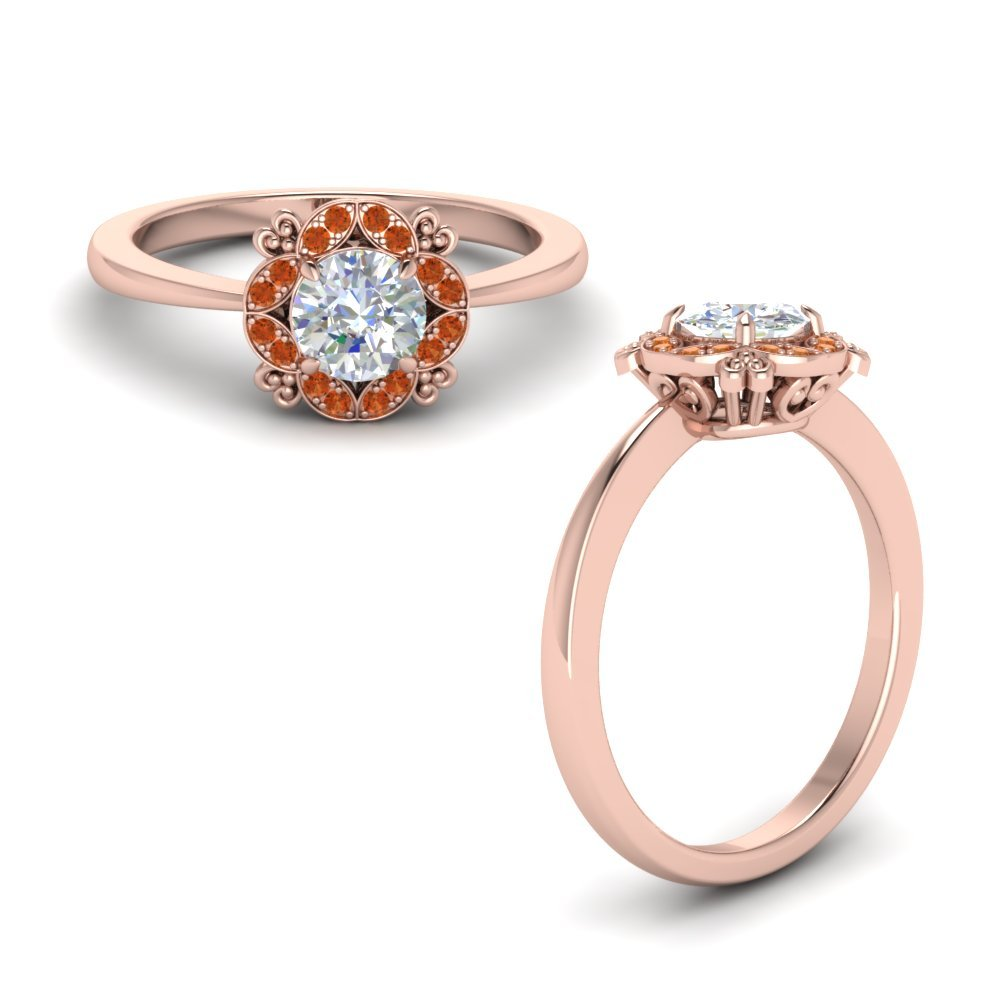 Art Deco Petite Engagement Ring With Orange Sapphire In 18K Rose Gold