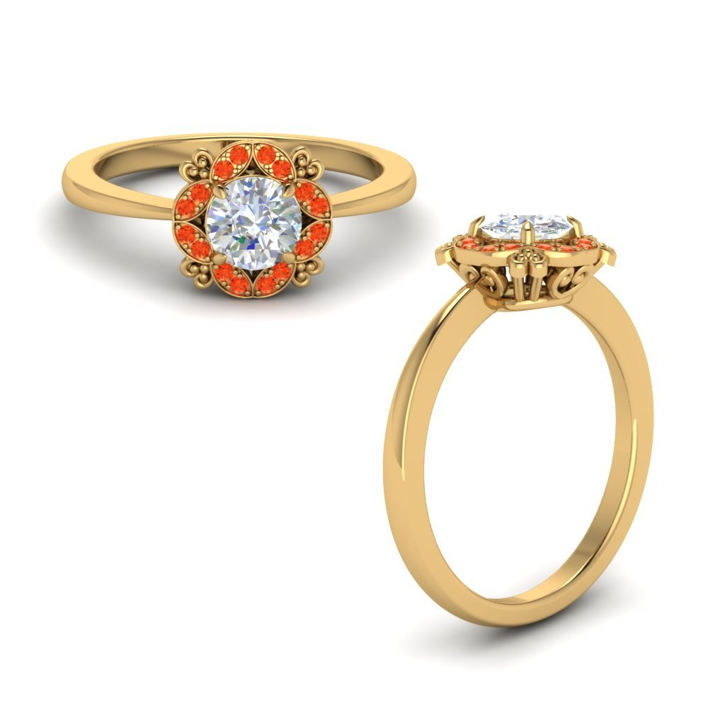 Art Deco Petite Engagement Ring With Orange Topaz In 14K Yellow Gold