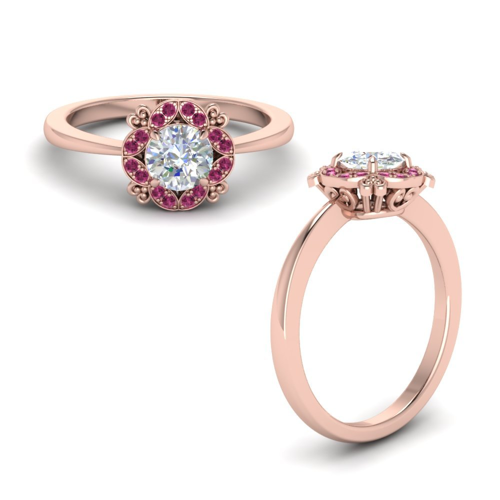 Art Deco Petite Engagement Ring With Pink Sapphire In 14K Rose Gold
