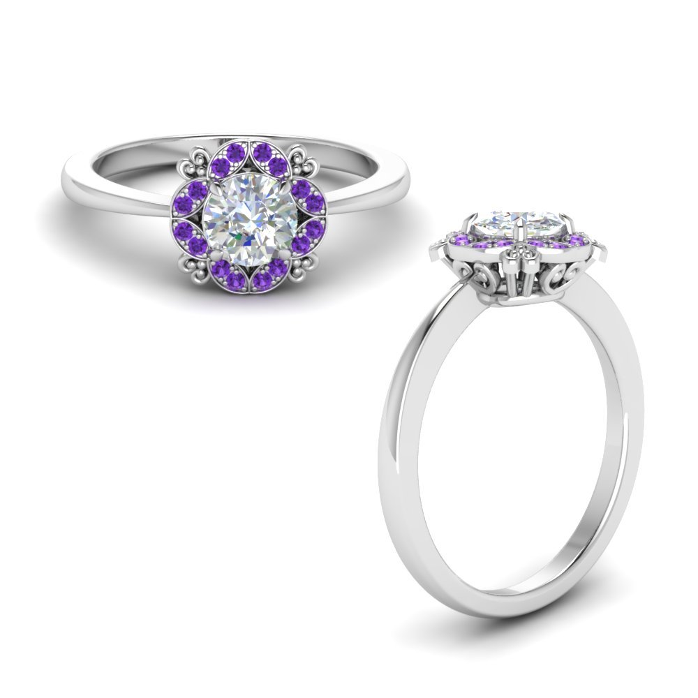Art Deco Petite Engagement Ring With Purple Topaz In 950 Platinum