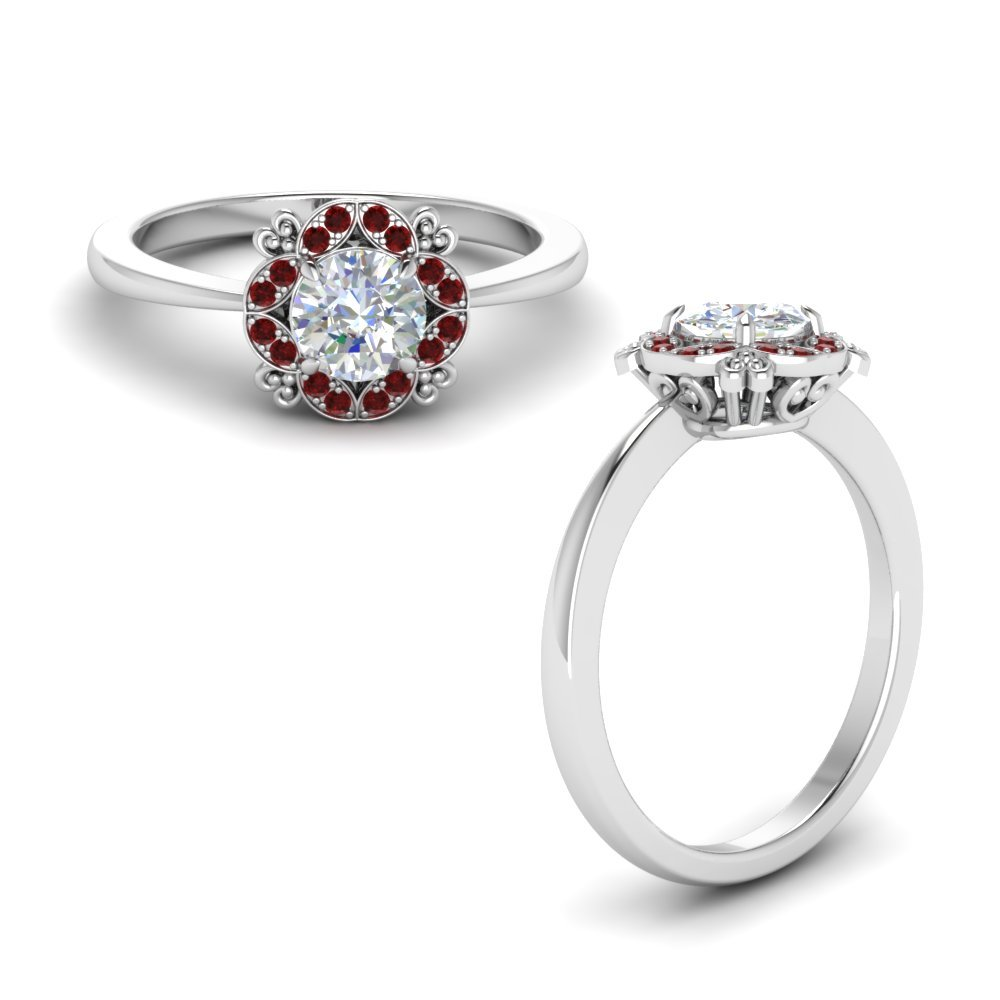 Art Deco Petite Engagement Ring With Ruby In 14K White Gold