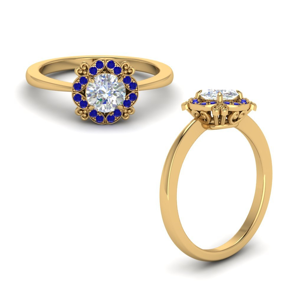 Art Deco Petite Engagement Ring With Sapphire In 14K Yellow Gold