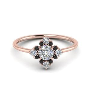 Plain Shank Black Diamond Ring