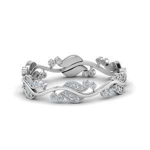 Art Nouveau Diamond Anniversary Band In 14K White Gold
