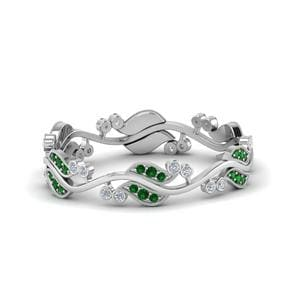 Platinum Emerald Anniversary Band