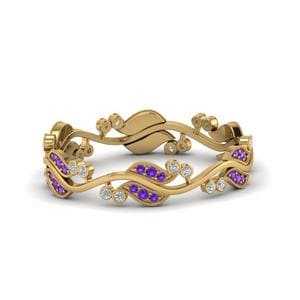 Vintage Leaf Purple Topaz Band