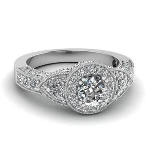 Art deco Round and Trillion Diamond Ring