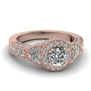 Art Deco Round And Trillion Diamond Vintage Engagement Ring In 18K Rose Gold