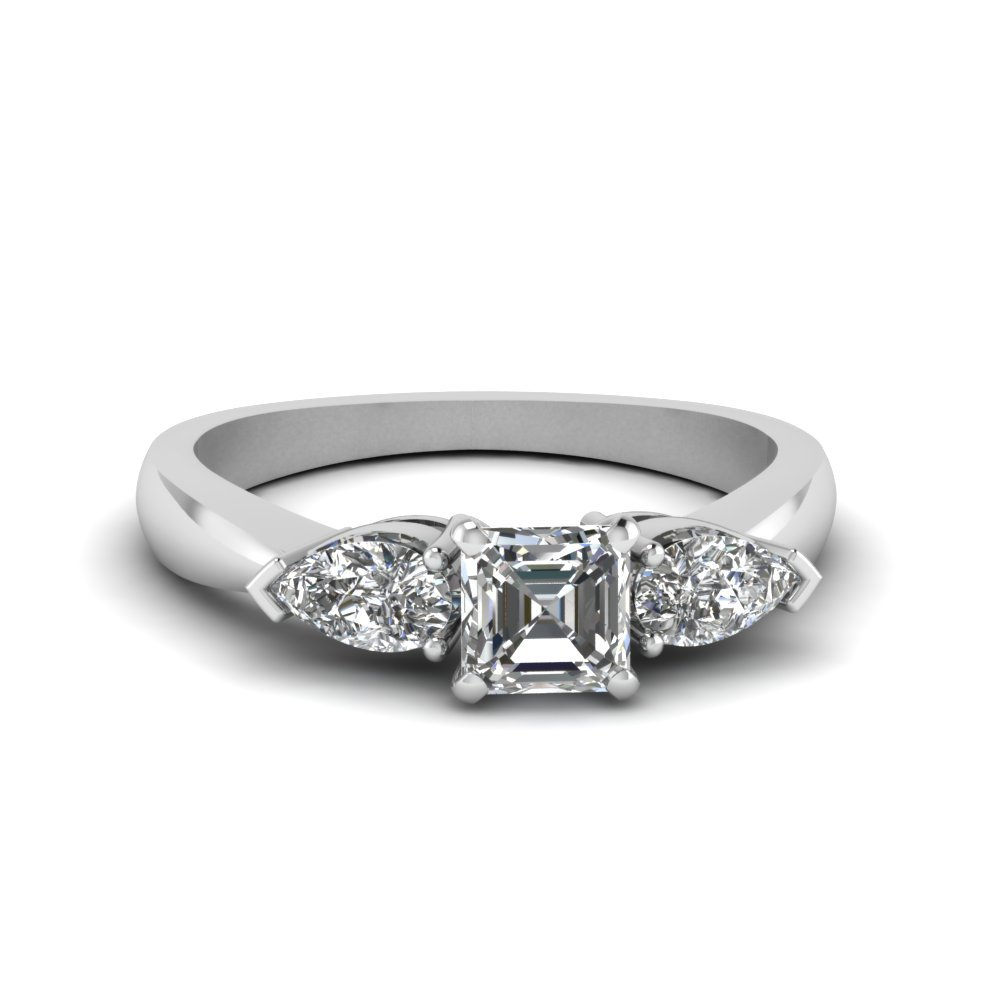Asscher With Pear Cut 3 Stone Ring