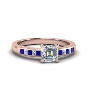 Asscher Channel Princess Cut Diamond Enagagement Ring With Blue Sapphire In 14K Rose Gold