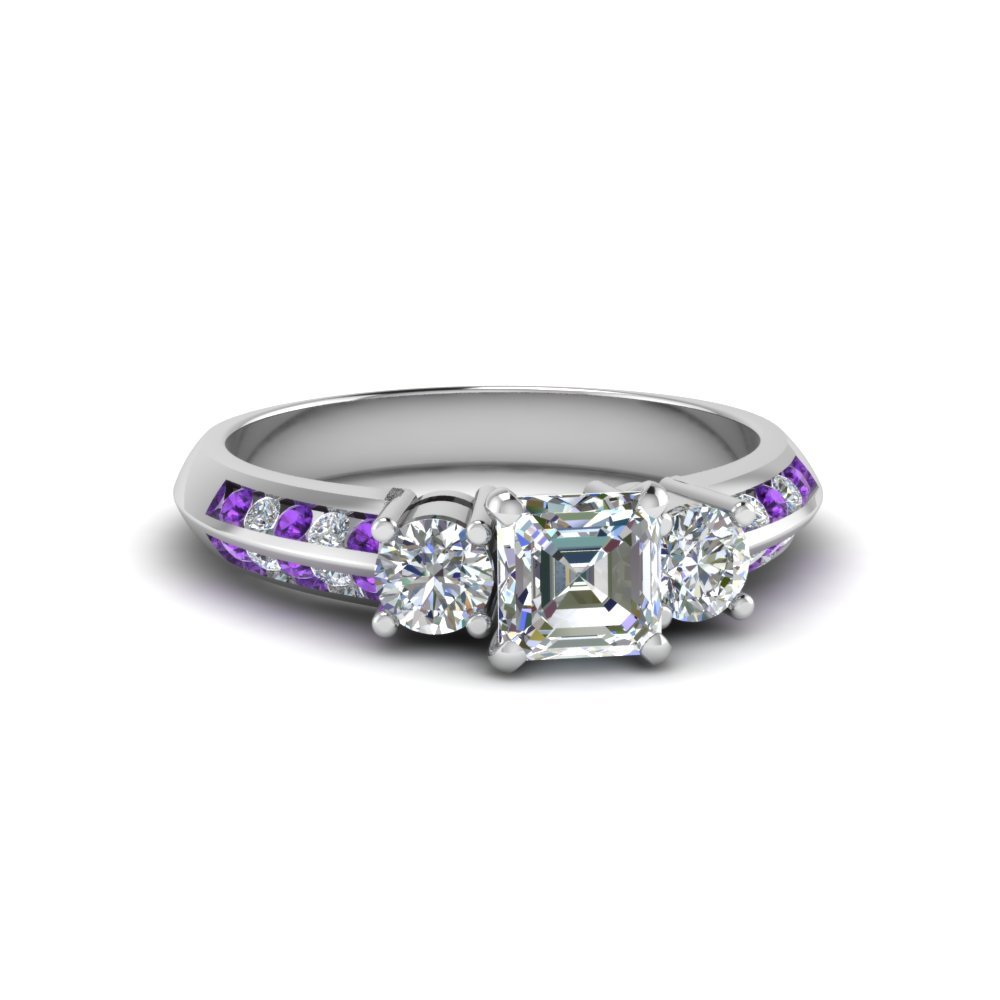 14k White Gold Asscher Diamond Ring