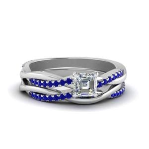 Sapphire Twisted Wedding Set