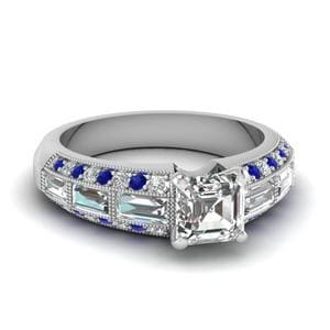 Antique Baguette Asscher Diamond Engagement Ring With Sapphire In 14K White Gold