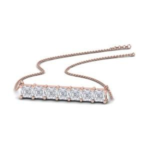 Asscher Cut Bar Anniversary Necklace