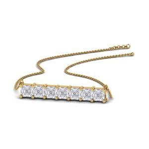 14K Yellow Gold Asscher Cut Necklace