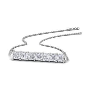 Asscher Bar Pendant 18K White Gold
