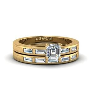 Asscher Cut Bar Baguette Diamond Simple Wedding Ring Set In 14K Yellow Gold