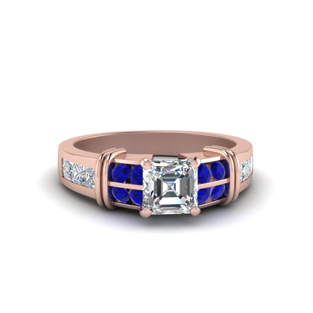 Asscher Cut Bar Channel Set Wide Diamond Ring With Blue Sapphire In 14K Rose Gold